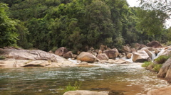 Stream of Transparent Mountain River by Rocks Green Slopes Stock Footage