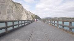 Long Concrete Wharf, Tolaga Bay, New Zealand Stock Footage