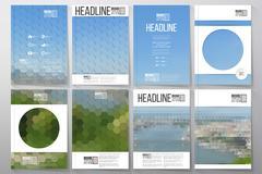 Business templates for brochure, flyer or booklet. Nature landscape. Collection - stock illustration