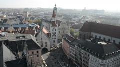 Marienplatz to Viktualienmarkt. view from top of Town hall at Marienplatz Stock Footage