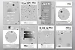 Set of business templates for brochure, flyer or booklet. Molecular research - stock illustration