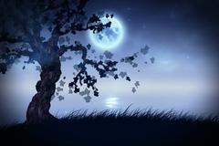 Night tree - stock illustration