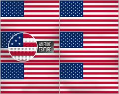 Set of american flags in dirty retro style with abstract halftone effect - stock illustration