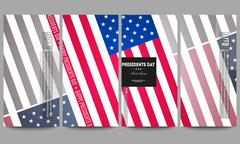Set of modern flyers. Presidents day background with american flag, abstract Stock Illustration