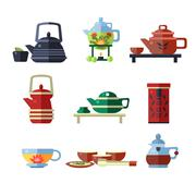 Tea Cup and Kettle Set. Flat Vector Illustration - stock illustration