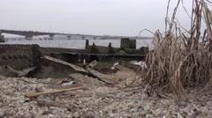 Rusty metal beams, frames, broken old ship on the river, ocean, 4k Stock Footage