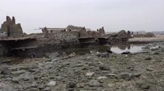 Rusty metal beams, frames, broken old ship on the river, ocean, 4k - stock footage