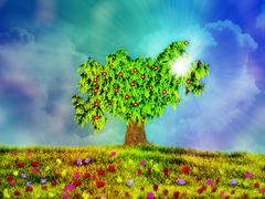 Tree in the meadow Stock Illustration
