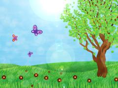 Tree on meadow Stock Illustration