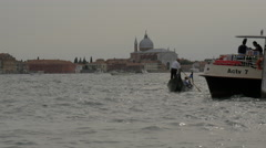 Boats floating close to Chiesa del Santissimo Redentore in Venice - stock footage