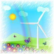 Wind turbine on field Piirros