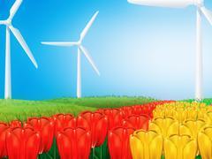 Wind turbine on field - stock illustration