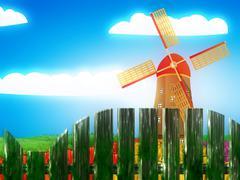 Windmill and summer landscape - stock illustration