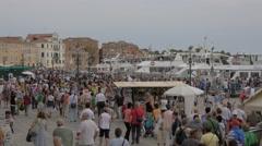 The crowded Riva degli Schiavoni in Venice Stock Footage