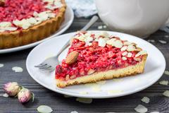 Homemade pink praline tart, almond tart. Stock Photos