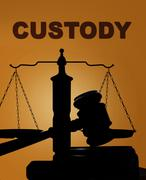 Custody and gavel with scales - stock photo
