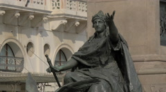 Great statue at Victor Emmanuel II Monument's base in Venice Stock Footage