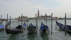 Gondolas moored in the canal, close to Piazza San Marco, Venice Stock Footage