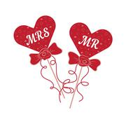 Vector wedding hearts MR and MRS on a stick Stock Illustration