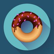 Cute sweet colorful donut icon. Flat designed style. - stock illustration