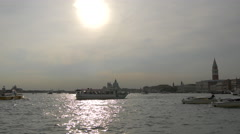 The Venetian Lagoon seen on a sunny day with boats in Venice Stock Footage