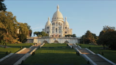 morning view of sacre coeur basilica, paris - stock footage