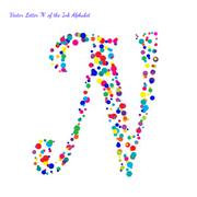 Vector Letter N from Bright Color Ink Blots with Splashes Stock Illustration