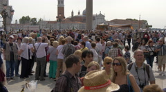 The crowded St Mark's Square, Venice Stock Footage
