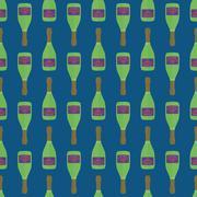 pop art champagne bottle seamless pattern. - stock illustration
