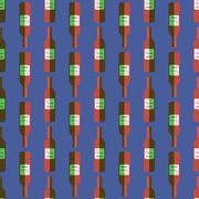 Pop art red wine bottle seamless pattern. Stock Illustration