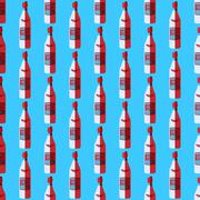Stock Illustration of pop art vodka bottle seamless pattern.