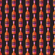 Pop art whiskey bottle seamless pattern. Stock Illustration