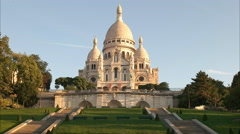 slow zoom out shot of sacre coeur basilica, paris - stock footage