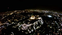 Fireworks explode over the temple of the Parthenon at the Acropolis - stock footage