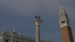 Colonne di San Marco e San Todaro and St Mark's Tower in Venice Stock Footage