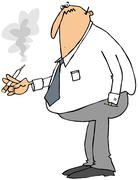 Businessman smoking a cigarette - stock illustration