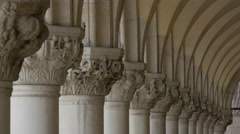 Decorated columns at Palazzo Ducale in Venice Stock Footage