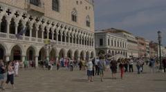 Tourists walking on Riva degli Schiavoni in Venice Stock Footage