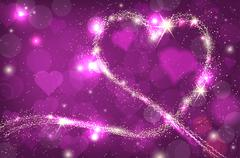 Blurred bokeh purple background with sparkle heart - stock illustration