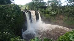 Rainbow (Waianuenue) Falls is a waterfall located in Hilo, Hawaii. - stock footage