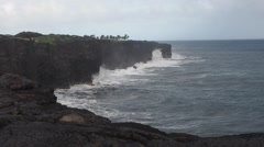 Kalapana coast at the end of Chain of Craters Road in Hawaii Stock Footage
