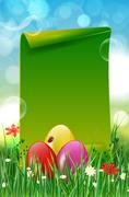 Easter background with easter eggs in grass and paper copyspace Stock Illustration