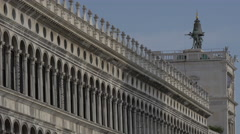 View of Procuratie Nuove and a bell in Piazza San Marco, Venice Stock Footage