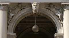 View of a Procuratie Nuove arch with statues and bas-reliefs in Venice Stock Footage