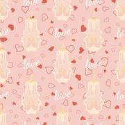 Vector pink wedding seamless pattern with candles Stock Illustration