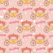 Vector wedding retro carriage seamless pattern - stock illustration