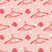 Wedding seamless pattern with hangers for bride - stock illustration