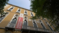 Low angle view of Palazzo Cavalli-Franchetti in Venice Stock Footage