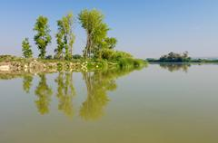Aquatic landscape in Pina Dam in Ebro river, Zaragoza, Aragon, Spain. Stock Photos