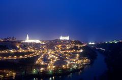 Night view in Toledo, Castilla La Mancha, Spain - stock photo